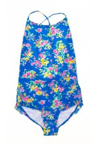Blue flowery one-piece swimsuit, Polo Ralph Lauren