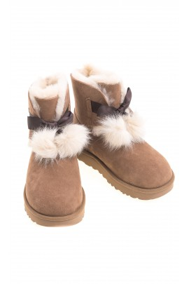 Brown boots with pompoms, UGG