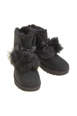 Black boots with pompoms, UGG