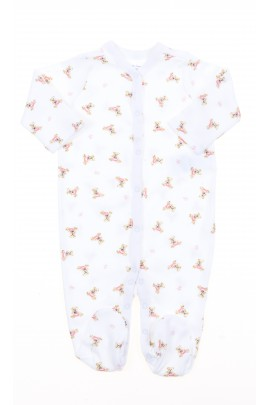 White baby sleepers with pink teddy bears, Polo Ralph Lauren