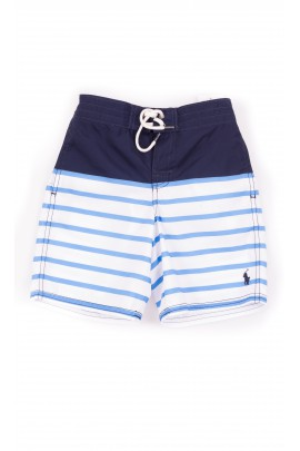 Navy blue boy swim shorts striped white-and-blue, Polo Ralph Lauren