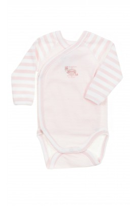 Pink-and-white baby body, Petit Bateau