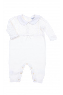 White baby playsuit with uncovered feet, Polo Ralph Lauren