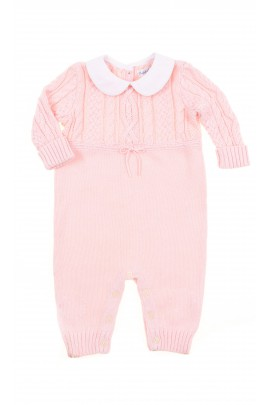 Pink baby playsuit with uncovered feet, Polo Ralph Lauren