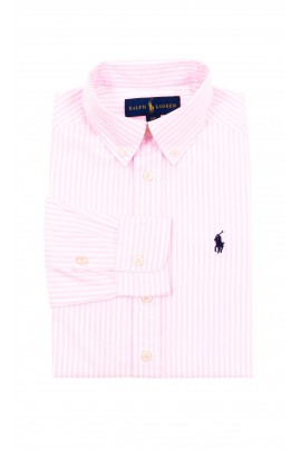 Boy shirt in white-and-pink vertical stripes, Polo Ralph Lauren