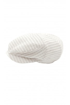 Boy flat cap for the baptism checked in beige, Colorichiari