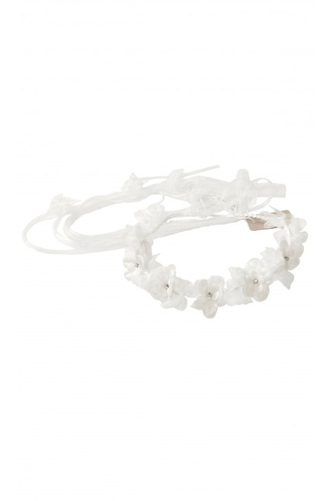 White garland with flowers and ribbons, Aletta