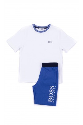 Summer pyjamas: white t-shirt + navy blue shorts, Hugo Boss