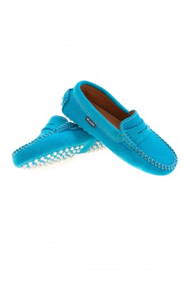 Suede turquoise moccasins, Atlanta Mocassin