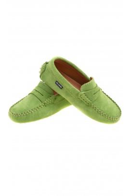 Suede green moccasins, Atlanta Mocassin