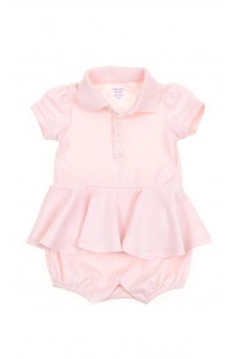 Pink girl rompers with frill, Polo Ralph Lauren