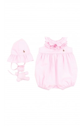 Pink girl rompers with hat and toy, Polo Ralph Lauren
