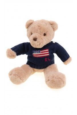 Teddy bear in navy blue sweater, Polo Ralph Lauren