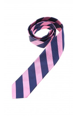 Boys tie with navy blue and pink diagonal stripes, Polo Ralph Lauren