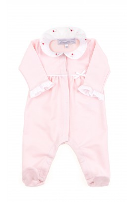 Pink baby girl playsuit with covered feet, Tartine et Chocolat