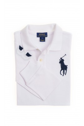 White, long-sleeved boy's polo shirt, Polo Ralph Lauren