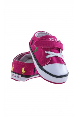 Pink baby plimsoll shoes, Ralph Lauren