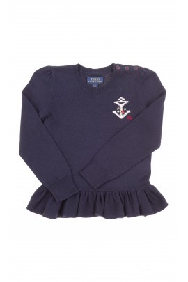 Navy blue sweater with frill at the bottom, Polo Ralph Lauren
