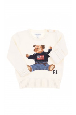 White sweater with bear at the front, Polo Ralph Lauren