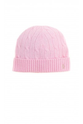 Pink cap pulled on plait weave, Polo Ralph Lauren