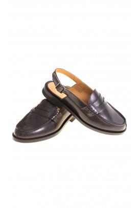 Elegant navy blue open-heel moccasins, Galluci