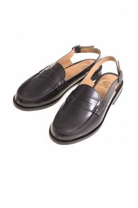 Elegant black open-heel moccasins, Gallucci