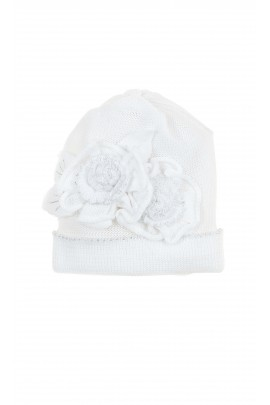 White baby girl hat for baptism, Aletta