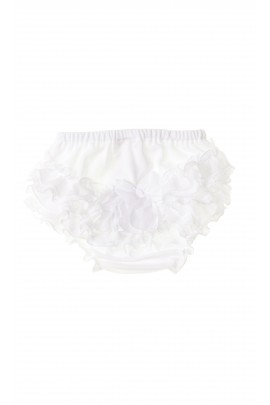 White baby girl panties with frills for baptism, Aletta