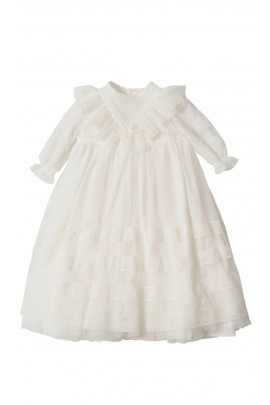 Milk-white long dress for baptism long sleeved, Aletta