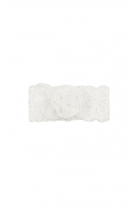 White lace hairband with flower for baptism, Aletta