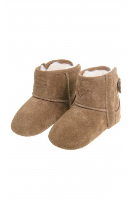 Brown baby shoes with velcro at the back and on the side, UGG