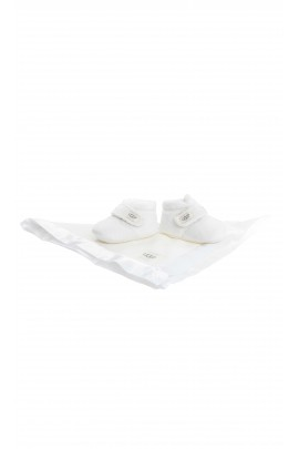 White baby slippers with velcro, UGG