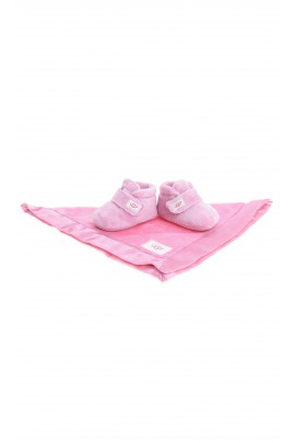 Pink baby slippers with velcro, UGG