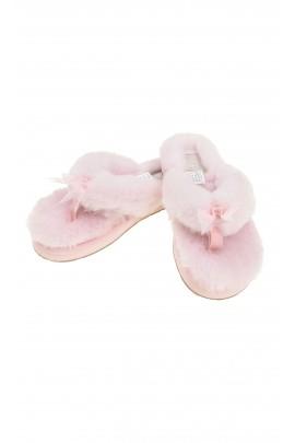 Pink flip-flops with fur, UGG