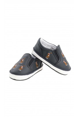 Navy blue baby shoes with little horses, Polo Ralph Lauren