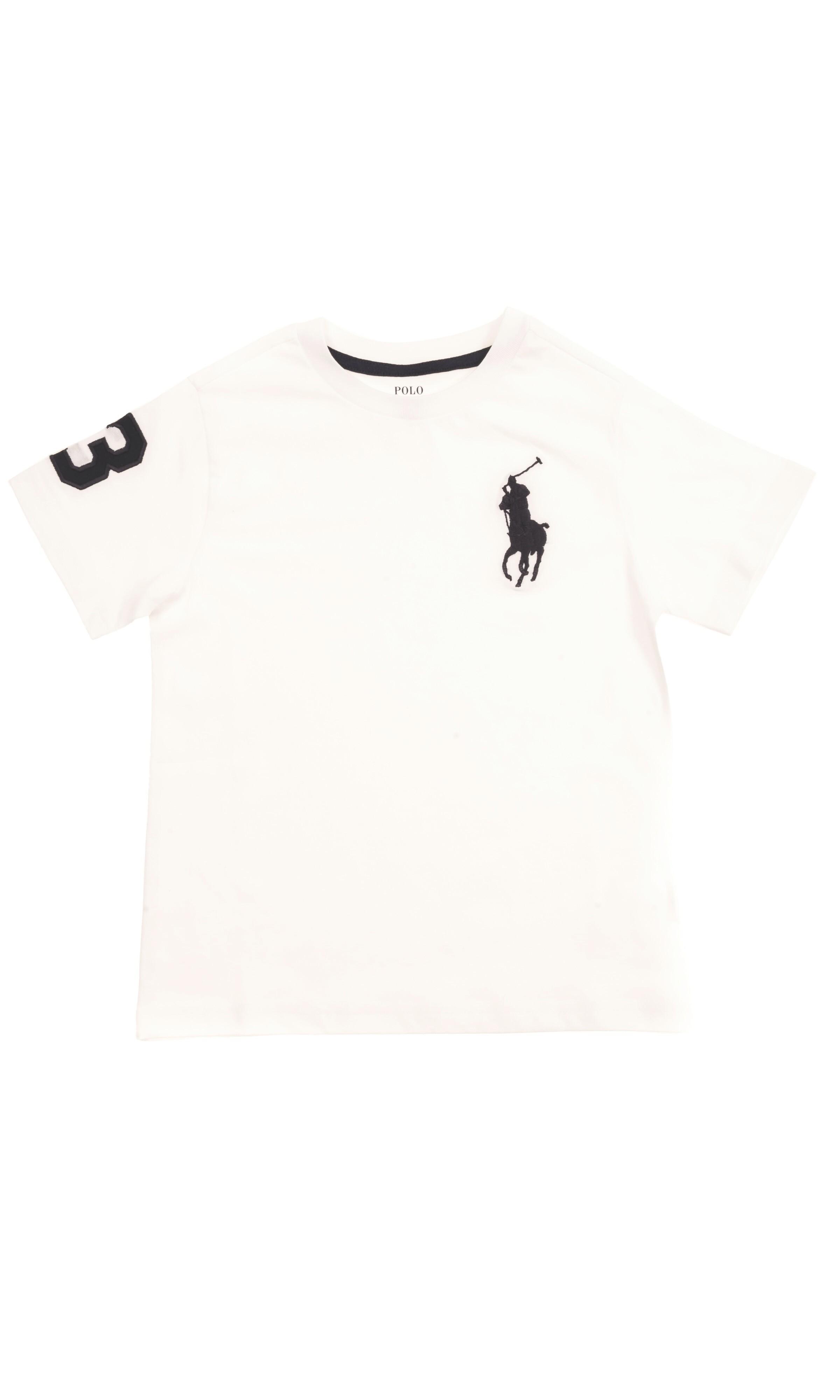 6b613e4d9fa4 Biały t-shirt chłopięcy z dużym granatowym konikiem