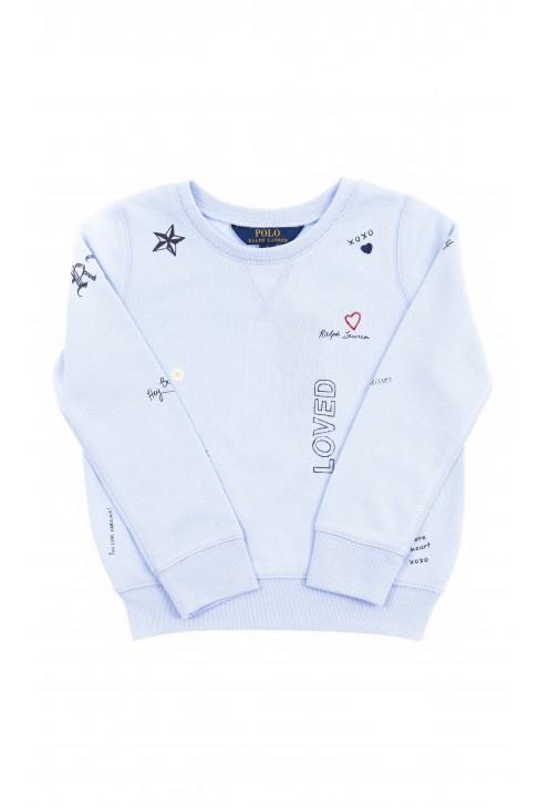 Blue girls sweatshirt with print, Polo Ralph Lauren