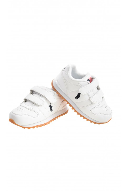 White sports shoes with double velcro, Polo Ralph Lauren