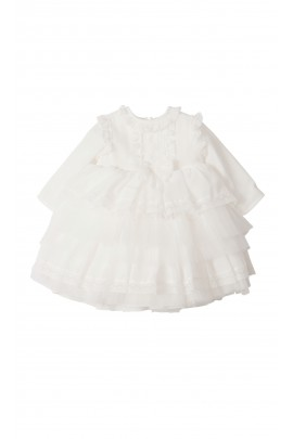 Milk-white short dress for baptism long sleeved, Aletta