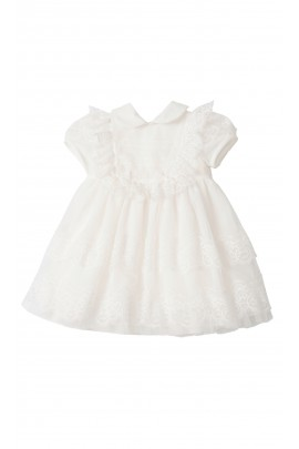 Milk-white dress for baptism short sleeved, Aletta