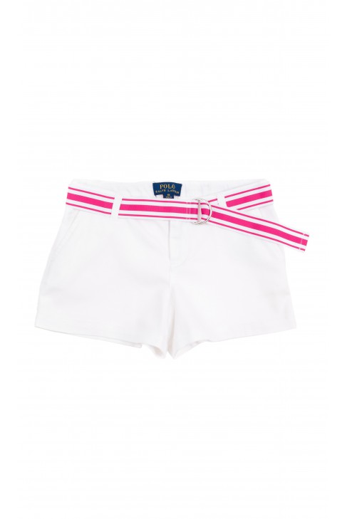 White shorts for girls with white- pink belt Polo Ralph Lauren