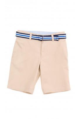Beige boys shorts with white- navy blue belt , Polo Ralph Lauren