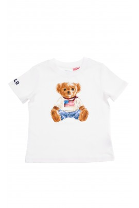 White boys T-shirt with a large teddy bear drawing, Polo Ralph Lauren