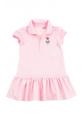 Pink cotton girls dress with frill at the bottom, Polo Ralph Lauren