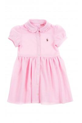 Pink cotton dress cut at the waist, Polo Ralph Lauren