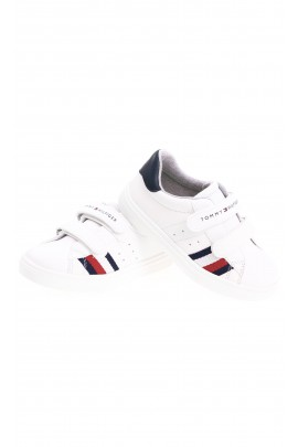 White faux leather Velcro sneakers for kids, Tommy Hilfiger