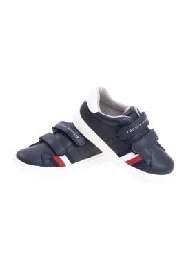 Blue navy faux leather Velcro sneakers for kids, Tommy Hilfiger