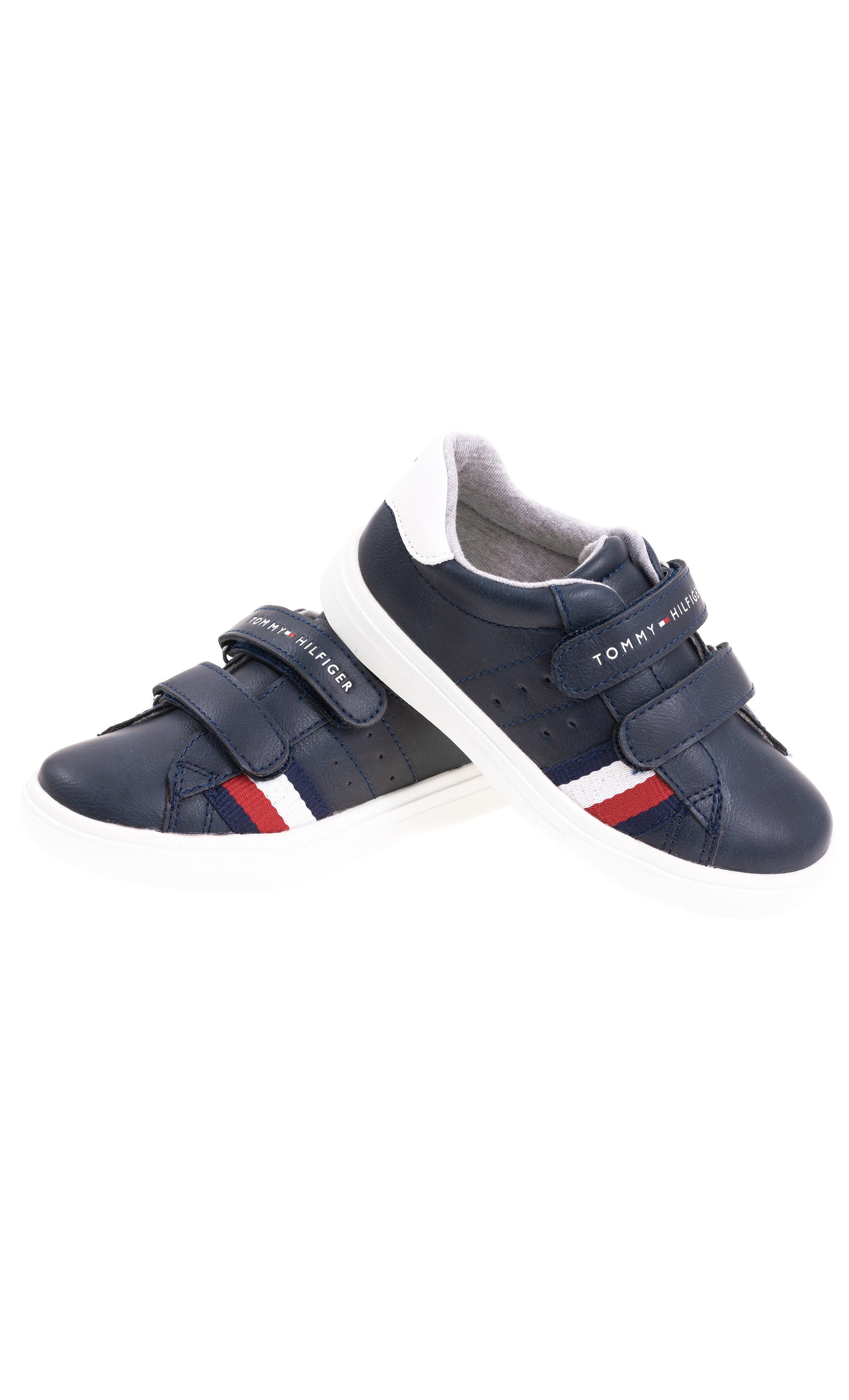 Blue navy faux leather Velcro sneakers