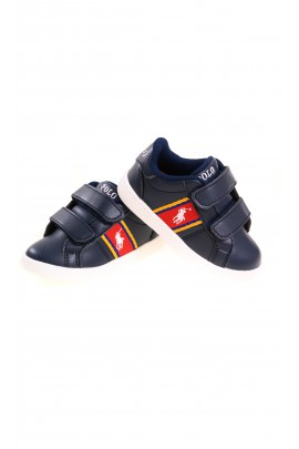 Navy blue kids Velcro sports shoes, Polo Ralph Lauren