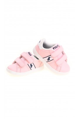 Pink kids Velcro sports shoes, Polo Ralph Lauren